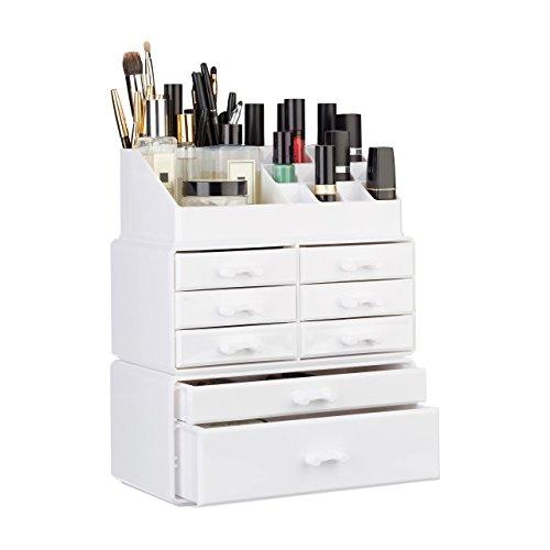 Relaxdays Make Up Organizer mit Schubladen, stapelbares Kosmetikregal f. Schmuck u. Make Up, Schminkaufbewahrung, weiß (Make-up Aufbewahrung Mit Schubladen)