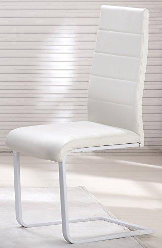 i-flair 4 Stück weiße Schwingstühle, Küchenstühle mit hochwertigem Kunstlederpolster - S8 Weiss 4er weiß
