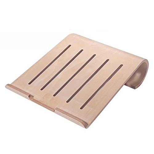System-S Echtholz Universal Notebookständer Laptop Netbook Ständer Halter Holz Ergonomisch in beige für MacBook MacBook Air iPad pro