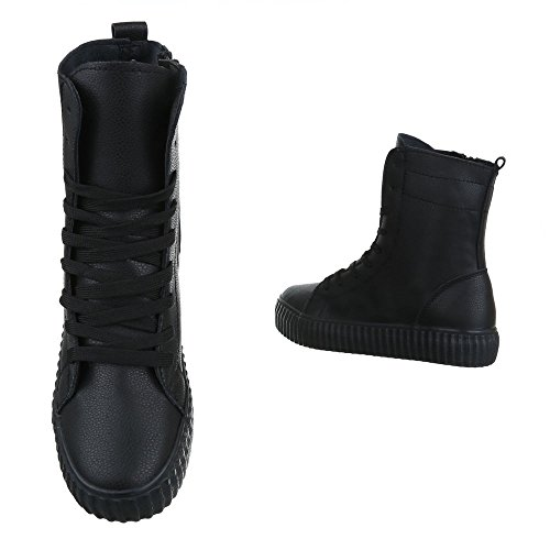 Sapatos Ital top Pretos De Zipper design Moderna Casual Alta Sapatilha Mulheres nqzwWTYSY