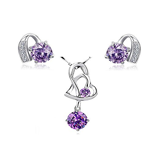 Jewelry Set – Heart Love Purple Necklace Pendant and Stud Earrings for Women Mom Teen Girl - Fashion Prime Gift 925 Sterling Silver 18K White Gold Plated