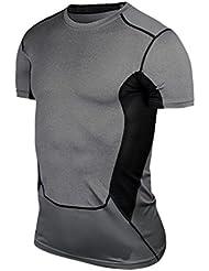 ROPALIA T-Shirt Haut de Compression Base Layer Tops à Manches Courtes Homme