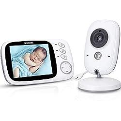 Babyphone Caméra Vidéo sans Fil 3,2 Pouces Visiophone Bébé 2,4 GHz Caméra Surveillance Bébé avec Ecran Couleur LCD Talkie Walkie Vision Nocturne Berceuses Intégrées et Thermomètre