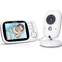 Vigilabebés Inalámbrico Bebé Monitor Pantalla,AWANFI Cámara de Vigilancia Infantil,Activación Vocal,8 Canciones de Cuna,VOX,Visión Nocturna,Comunicación Bidireccional y Monitoreo de Temperatura
