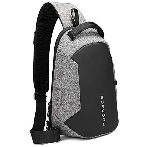 Business Herren Brusttasche, Schulter Messenger Bag, lässig Rucksack, Sport Cross-Bag Taschen Trend Herren Tasche, USB-Ladeschnittstelle (...