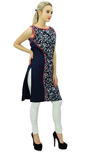 Bimba womens floral coton bleu marine kurta tunique indienne Kurti blouse sans manches design bleu marin