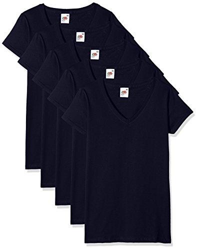 Fruit of the Loom Damen Regular Fit T-Shirt Valueweight V neck Lady-fit 5 Pack, Blau (Navy 32), XXL (Herstellergröße: XXL) - Casual V-neck T-shirt