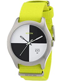 Nixon Unisex-Armbanduhr The Quad Neon Yellow Analog Quarz Nylon A3441262-00