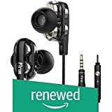 (Renewed) PTron Boom 3 Headphones, 4D Deep Bass Stereo Earphones, Dual Drivers, Ergonomic in-Ear Design, Universal 3.5mm Audio Jack, Sport Wired Headset with Mic for All Smartphones (Black/Silver)