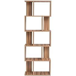 Mobili Rebecca® Biblioteca Mueble Libreria 5Estante Madera Marron Diseño Moderno Salon Dormitorio Juvenil (Cod. RE4790)