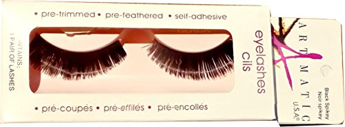 ARTMATIC Imported 1 Pair Black Natural Thick Long False Eyelashes with Adhesive - 518-001