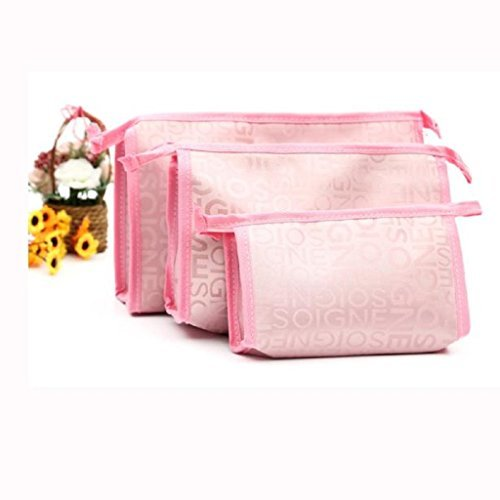 Outtop Cosmetic Makeup Pouch Multifunction Portable Travel Toiletry Bag Set (Pink)