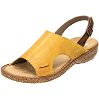83545a87960c Rieker 628C5-68 Leather Slingback Flat Sandals Yellow