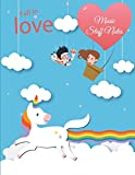 Fall in Love: Music Staff Notes: Unicorn LGBT Flag, Music Composition Books, Music Manuscript Paper 120 Pages Large Print 8.5