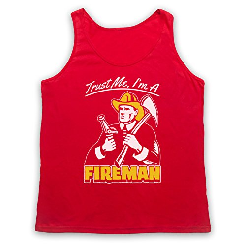 Trust Me I'm A Fireman Funny Work Slogan Tank-Top Weste Rot
