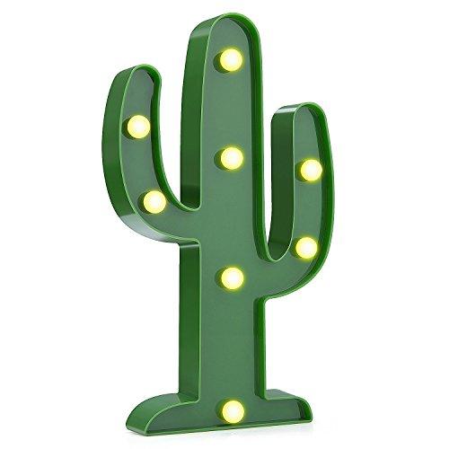 LED Nacht Licht Nacht Tisch Lampe - ZWOOS Warmweiße LED Deko Batterien Betrieben (Nicht im Lieferumfang Enthalten) Dekolampe für Wohnzimmer und Küche(Kaktus)