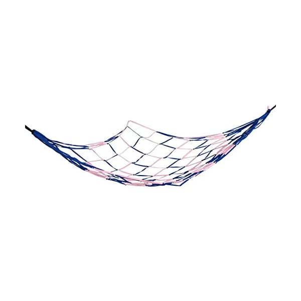DealMux Pink Blue Nylon Mesh Garden Swing Net Bedrooms Sleeping Hammock 2.1 x 1.6 DealMux  2