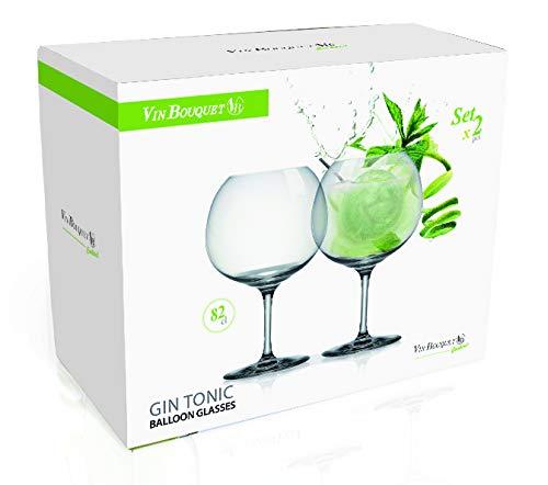 Vin Bouquet - Copas Balón de Cristal de Bohemia para Gin-Tonic, Transparentes, Juego de 2 Unidades - 82 Cl