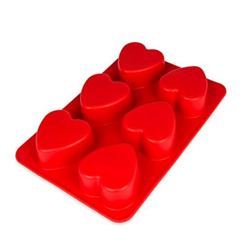 Silikonform mit Herzen, 6 große Herzen, Backform für Muffins oder Brownies, Party-Eiswürfel für Kreative, Bowle, Valentinstag, Liebe, Romantik, Kuchen, Pudding, Schokolade, Geschenkidee, Farbe:Rot