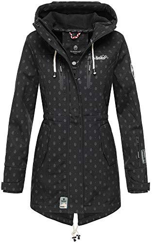 Marikoo Damen Winter Jacke Winterjacke Mantel Outdoor wasserabweisend Softshell B614 (Gr. L/Gr. 40, Schwarz Muster)