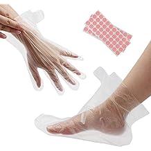 200 piezas de guantes transparentes y botines, protectores de plástico desechables, revestimientos de plástico para cera de parafina, salón de spa caliente, ...