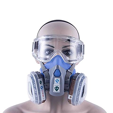 Babimax Organic Vapor/Acid Safety Mask Gas Respirator Assembly Half Face Gas Mask 7 Pcs Set with Goggle Filter Cotton For Painting Pesticide