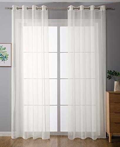 2er-Pack Ösen Gardinen Transparent Vorhang Set Wohnzimmer Voile Ösenvorhang Bleibandabschluß HxB 225x140 cm Creme, 203322 - Vorhänge Wohnzimmer-sets Für