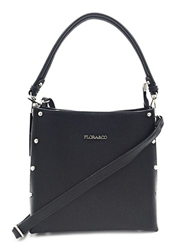 Flora&Co - Sac femme porté bandoulière / Sac porté épaule / Sac à main bandoulière / Sac clouté femme (Noir)