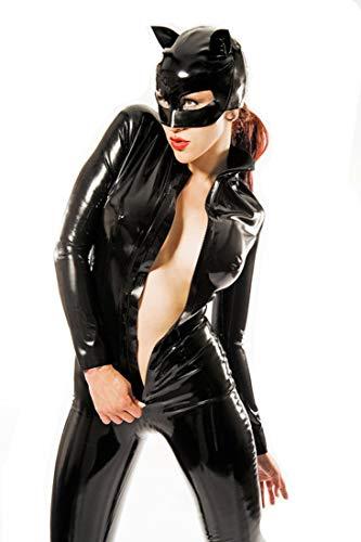 Lack Leder Latex Damen Sexy Black Catwomen Rollenspiel Overall Kostüm PVC Latex Body Sexy Leder Halloween Catsuit,XXL