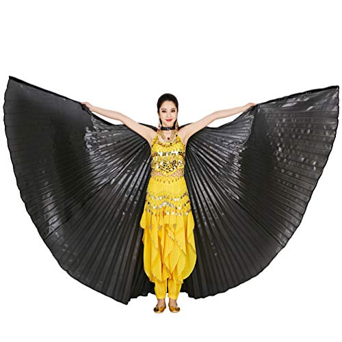 Bauchtänzerin Isis Flügel Keine Sticks Tanzkostüm-Zubehör Bauch Tanz Darstellende Künste Halloween Fasching 2# Schwarz (ohne Stock) ()