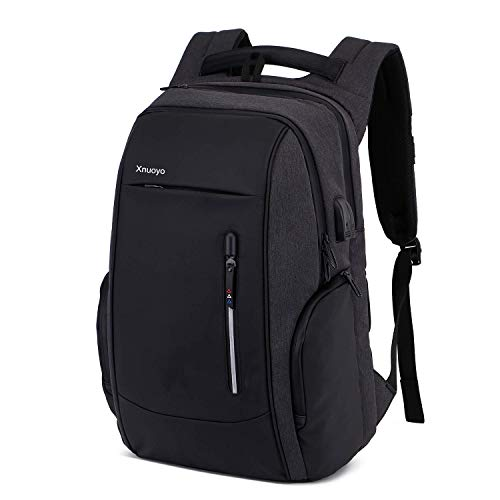 Xnuoyo 17.3 Zoll Anti-Diebstahl Laptop Rucksäcke, Handtasche Herren Damen Schulrucksack mit Schloss, USB Anschluss und Headphone Port, Schultertasche mit Croßem Laptopfach und Zubehörfächer (Schwarz)