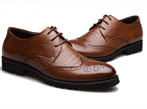 WZG Die neuen Männer das Geschäft Kleidung Schuhe Bullock Schuhe Krokodillederschuhe Brautschuhe schwarz 9.5 Männer geschnitzt Brown