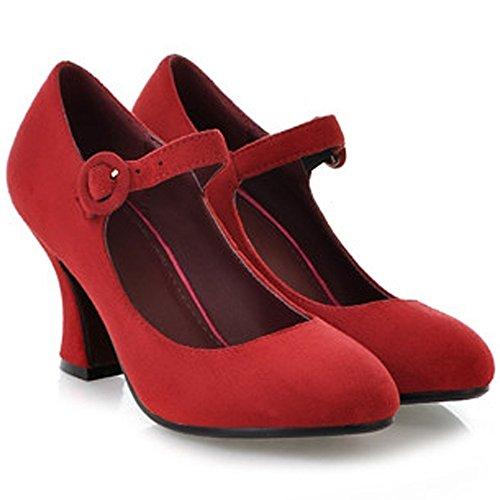 COOLCEPT Damen Klassische Mary Janes Pumps Knochelriemchen Schuhe Blockabsatz Rot