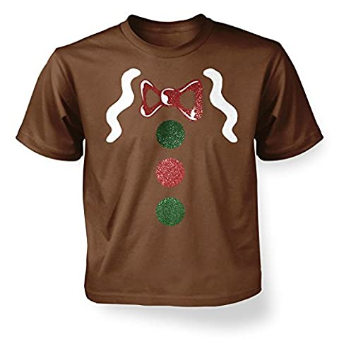 Gingerbread Man Costume (Deluxe) Kids T-shirt - Chestnut 12-13 Years