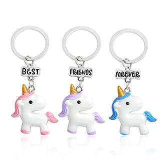 Milnut 3 Niedlich Einhorn Keychain Taschen Handtasche Schlüsselring Autoschlüssel Anhänger (Keychain A)
