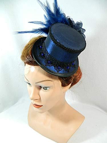 Viktorianischen Tophat - Mini Zylinder blau Taft Damenhut Tophat