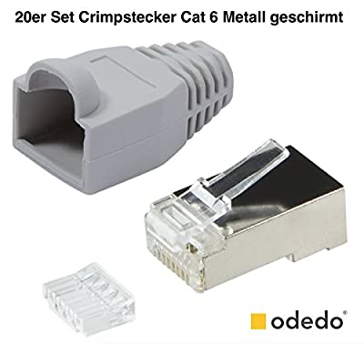 odedo Lot de 20 fiches à sertir en métal CAT6 avec Dispositif d'aide au sertissage et Protection Anti-Pliage Prise réseau RJ45 Kat6 Gris par odedo®