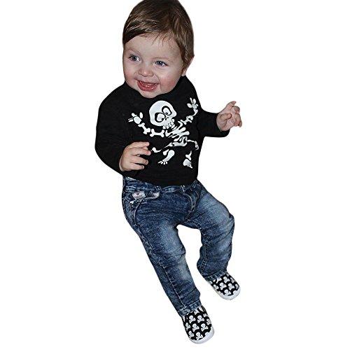 SEWORLD Baby Halloween Kleidung,Niedlich Kinder Halloween Knochen Drucken T-Shirt Tops + Jeans Denim Hosen Set Casaul Kleidung(Schwarz,24 Monate)