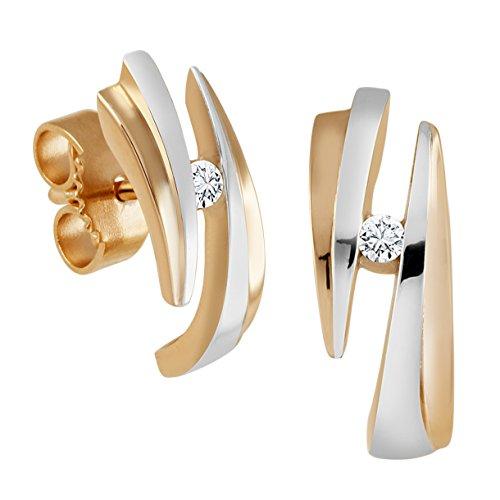 Diamond Line Damen-Diamant-Ohrstecker 2 Diamanten ca. 0,05ct. getöntes weiß Lupenrein (gW-LR)