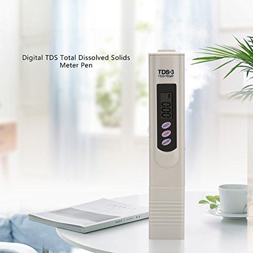 TDS-Messstift, digitaler Wassertester, Bereich 0-9990ppm für Temp/PPM-Tests für die Reinheit Aller gelösten Feststoffe und der Wasserqualität -