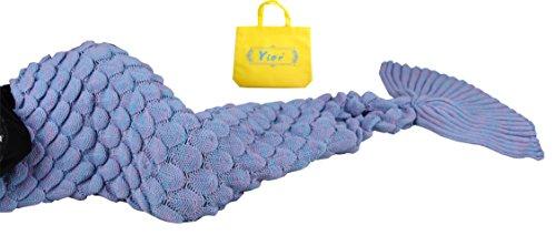 Yier® Meerjungfrau Endstück Häkeldecke für Erwachsen Teens Wohnzimmer Schlafzimmer Sofa Super weiche Skalen-Decken Schlafsack-Maßstab lila