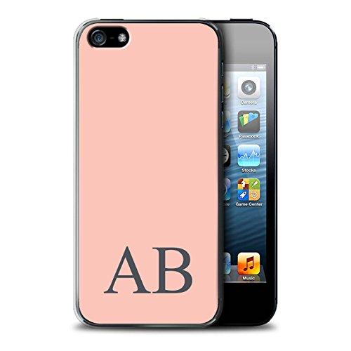 Personalisiert Pastell Monogramm Hülle für Apple iPhone SE / Grünes Design / Initiale/Name/Text Schutzhülle/Case/Etui Korallen