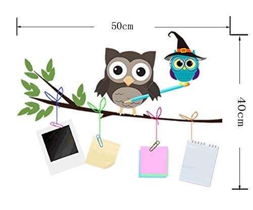 GWFVA Dibujos Animados Lindo búho Familia Rama Pegatinas de Pared para niños Habitaciones de bebés Cartel decoración del hogar Dormitorio Tatuajes de Pared de PVC Animal DIY Art Mural