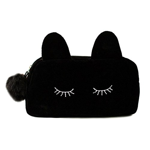 Lumanuby 1 Stück Multifunktional Kosmetiktasche für Mädchen Schminktasche aus Flanell Mode Katze Form Design 23*5.5*11cm Notwendiges Zubehör für Reisen