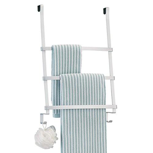 mDesign Handtuchhalter ohne Bohren - Türgarderobe für das Badezimmer - mit 3 Stangen und Haken für Waschlappen - auch ideal als Flurgarderobe - Aluminium