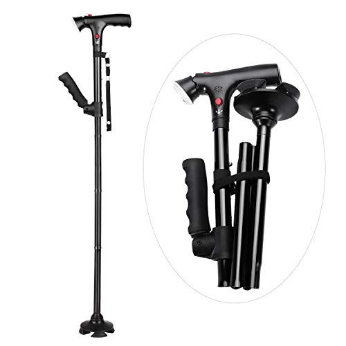 HEALIFTY Folding Cane with Alarm Button - Aluminium Walking Aids with LED Light - Lightweight, Collapsible...