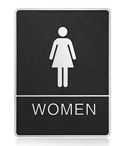 """mengliangpu8190 Tin Sign Womans ADA Compliant Restroom (Bathroom) Braille Sign Large 6""""X9"""" with Double Sided 3M Tape"""
