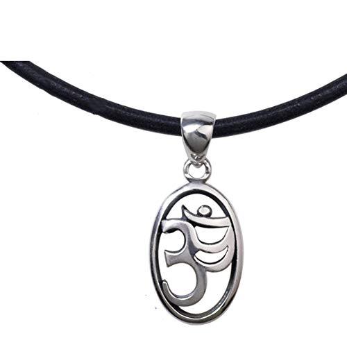 TIZIKJ Hinduismus Symbol Runde Anhänger Halskette, Amulett Talisman für Frieden Vintage Schmuck,B