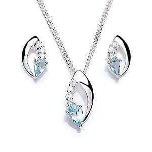 MiChic Damen-Schmuckset mit Kette und Ohrringen Silber 46cm 0871-1
