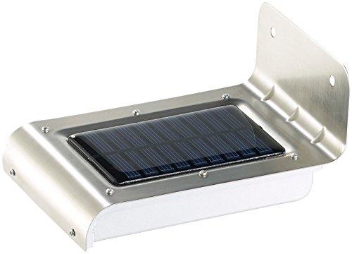 Luminea Edelstahl-LED-Solar-Wandleuchte, Licht- & Bewegungssensor, 48 lm, 0,5W